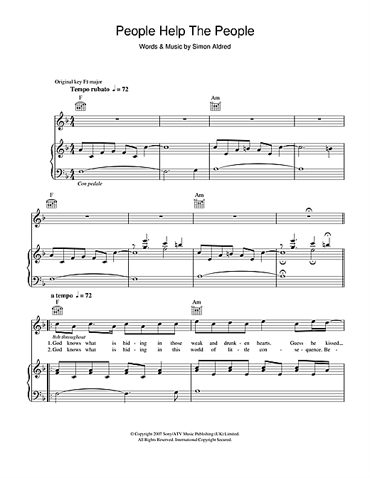 Birdy People Help The People sheet music notes and chords