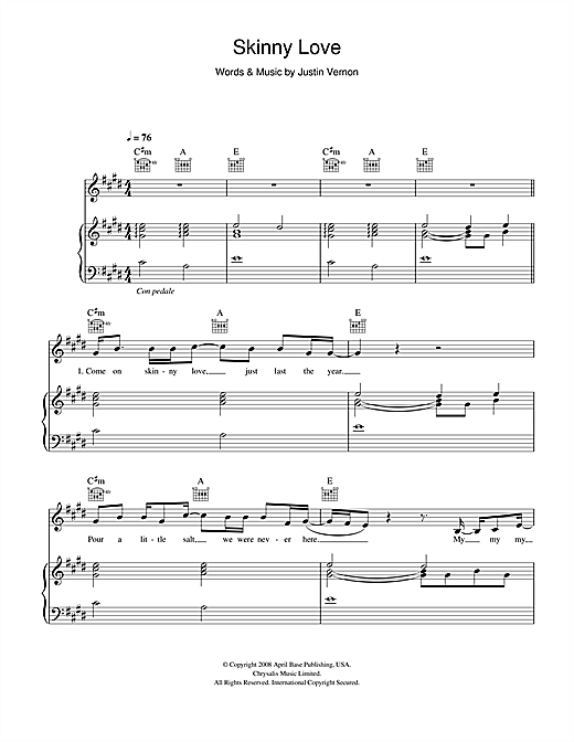 birdy skinny love piano sheet music free download