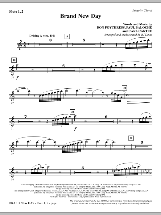 BJ Davis Brand New Day - Flute 1 & 2 sheet music notes and chords. Download Printable PDF.