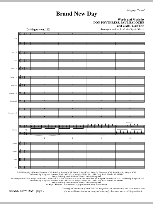 BJ Davis Brand New Day - Full Score sheet music notes and chords. Download Printable PDF.