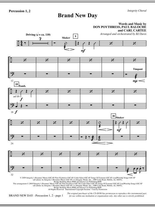 BJ Davis Brand New Day - Percussion 1 & 2 sheet music notes and chords. Download Printable PDF.