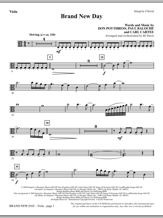 BJ Davis Brand New Day - Viola sheet music notes and chords. Download Printable PDF.