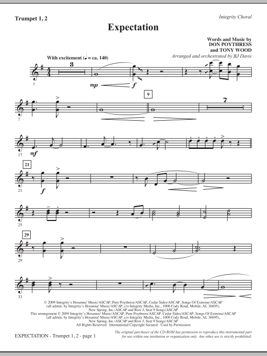 BJ Davis Expectation - Bb Trumpet 1,2 sheet music notes and chords. Download Printable PDF.
