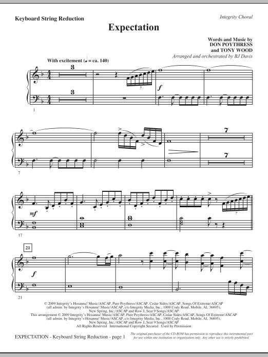 BJ Davis Expectation - Keyboard String Reduction sheet music notes and chords. Download Printable PDF.