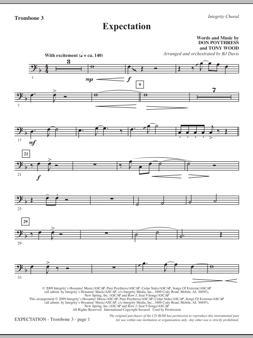 BJ Davis Expectation - Trombone 3 sheet music notes and chords. Download Printable PDF.