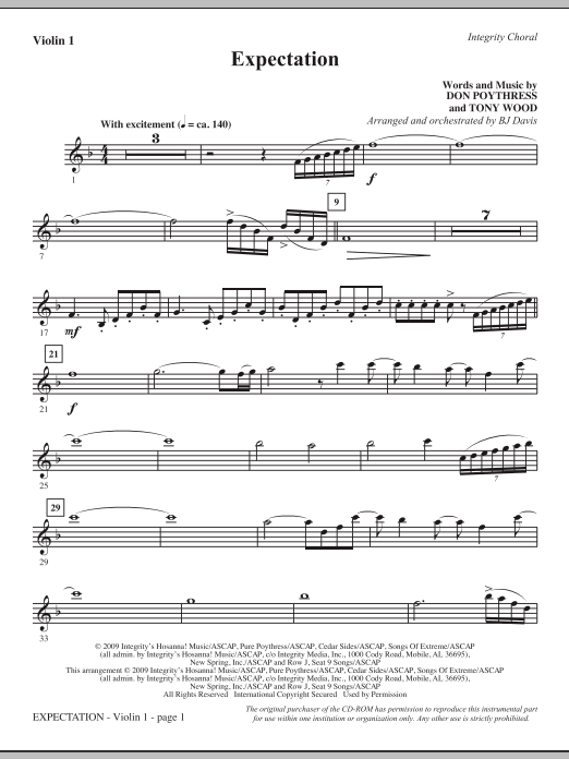 BJ Davis Expectation - Violin 1 sheet music notes and chords. Download Printable PDF.