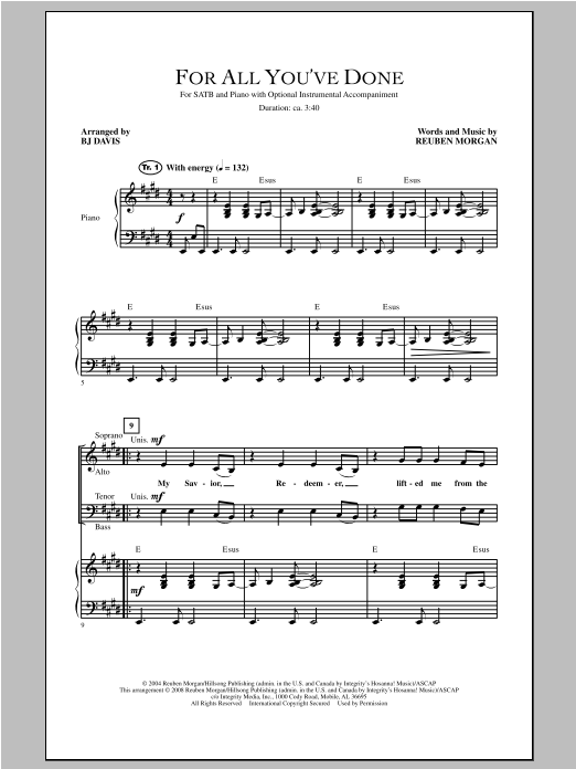 BJ Davis For All You've Done sheet music notes and chords. Download Printable PDF.