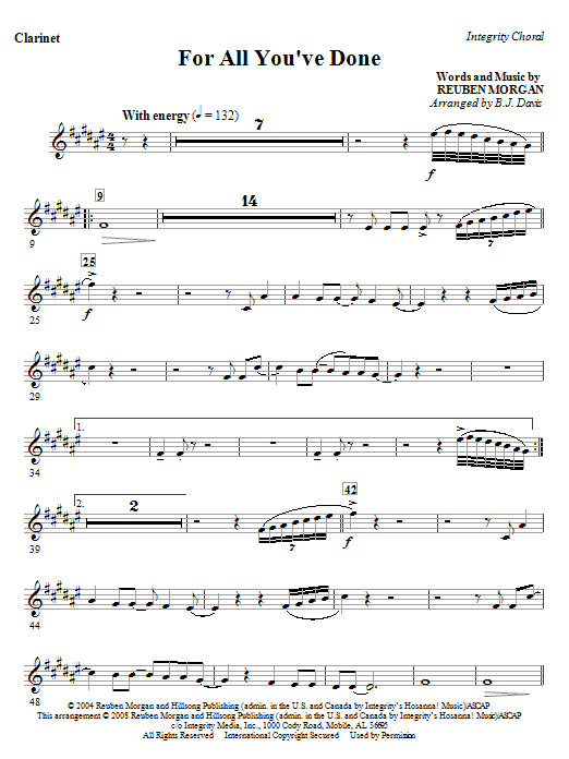 BJ Davis For All You've Done - Clarinet sheet music notes and chords. Download Printable PDF.