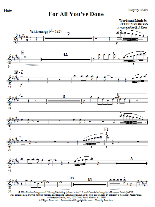 BJ Davis For All You've Done - Flute sheet music notes and chords. Download Printable PDF.