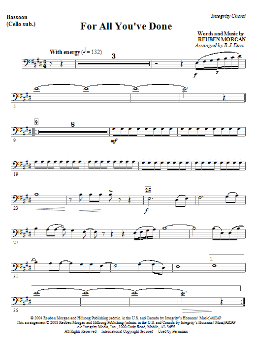 BJ Davis For All You've Done - Keyboard String Reduction sheet music notes and chords. Download Printable PDF.
