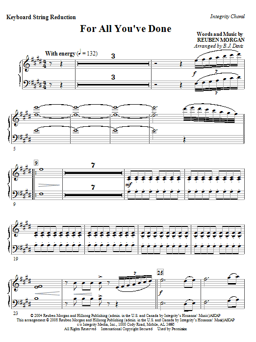 BJ Davis For All You've Done - Rhythm sheet music notes and chords. Download Printable PDF.
