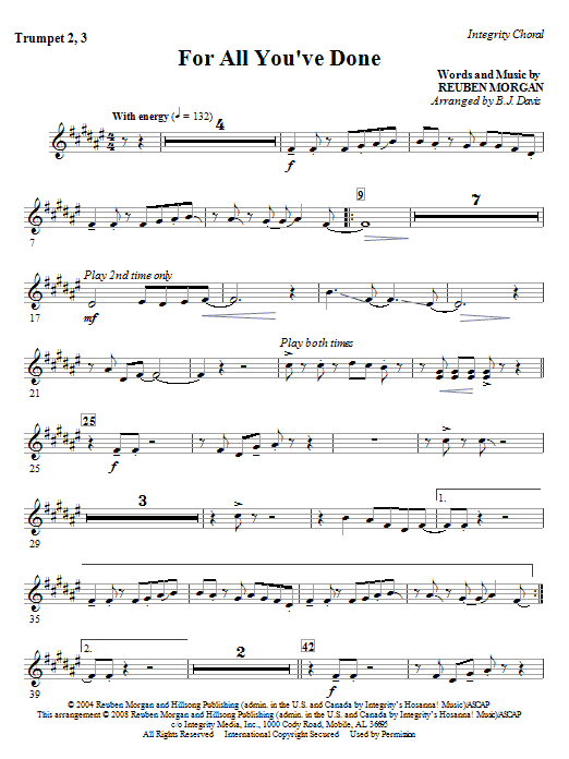 BJ Davis For All You've Done - Trumpet 2 & 3 sheet music notes and chords. Download Printable PDF.