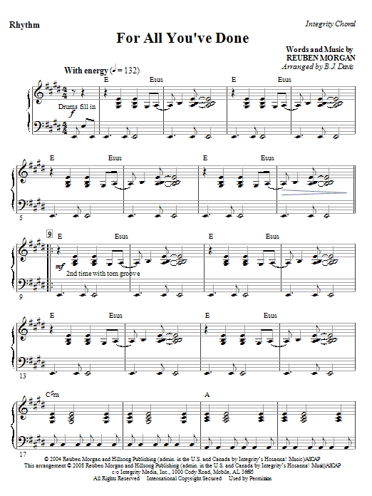 BJ Davis For All You've Done - Violin 1 sheet music notes and chords. Download Printable PDF.