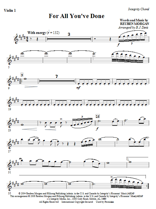 BJ Davis For All You've Done - Violin 2 sheet music notes and chords. Download Printable PDF.