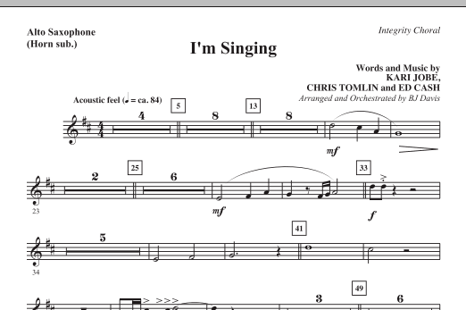 BJ Davis I'm Singing - Alto Sax (Horn sub.) sheet music notes and chords. Download Printable PDF.