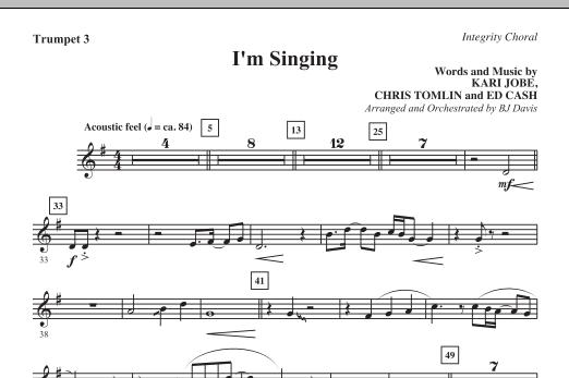 BJ Davis I'm Singing - Bb Trumpet 3 sheet music notes and chords. Download Printable PDF.