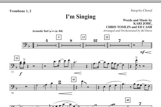 BJ Davis I'm Singing - Trombone 1 & 2 sheet music notes and chords. Download Printable PDF.