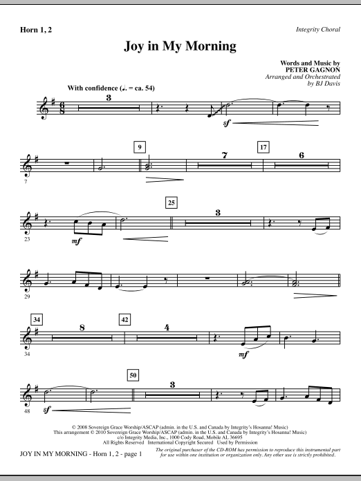 BJ Davis Joy In My Morning - F Horn 1,2 sheet music notes and chords. Download Printable PDF.