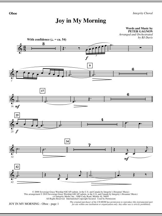 BJ Davis Joy In My Morning - Oboe sheet music notes and chords. Download Printable PDF.