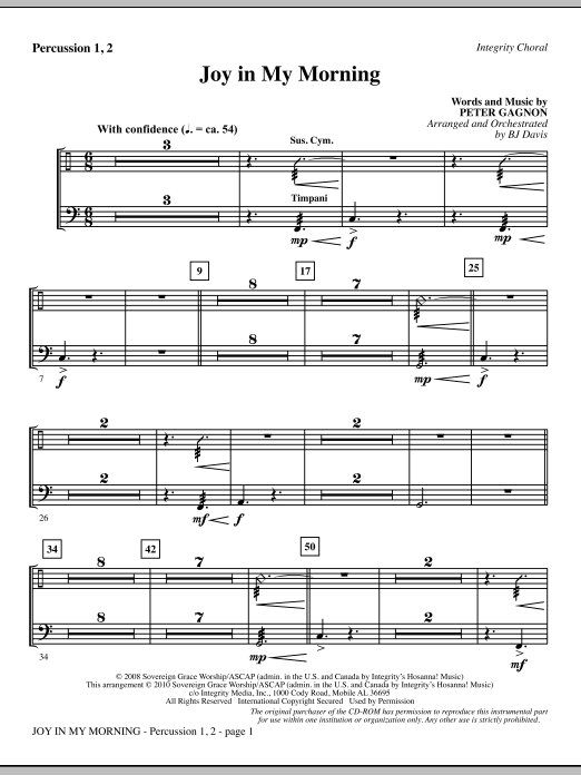 BJ Davis Joy In My Morning - Percussion 1 & 2 sheet music notes and chords. Download Printable PDF.