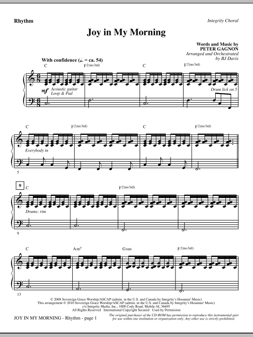 BJ Davis Joy In My Morning - Rhythm sheet music notes and chords. Download Printable PDF.
