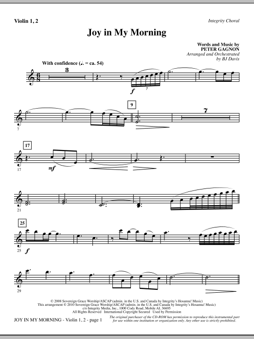 BJ Davis Joy In My Morning - Violin 1, 2 sheet music notes and chords. Download Printable PDF.