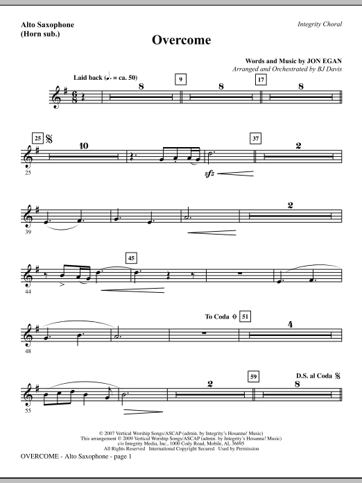 BJ Davis Overcome - Alto Sax (sub. Horn) sheet music notes and chords. Download Printable PDF.