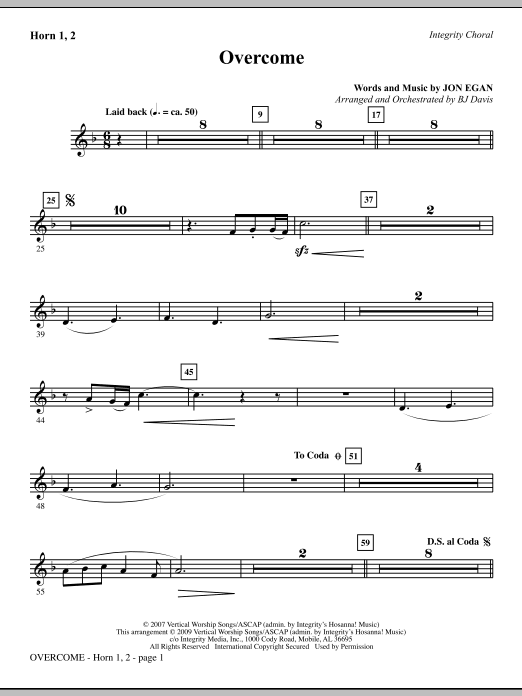 BJ Davis Overcome - Horn 1 & 2 sheet music notes and chords. Download Printable PDF.