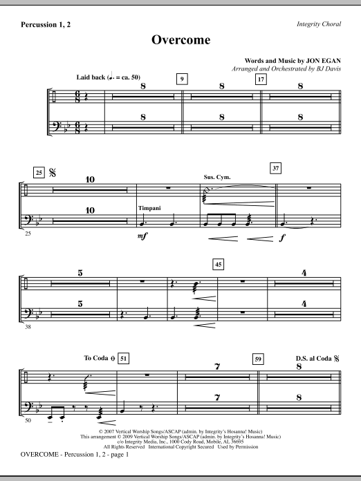 BJ Davis Overcome - Percussion 1 & 2 sheet music notes and chords. Download Printable PDF.