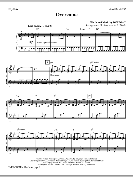BJ Davis Overcome - Rhythm sheet music notes and chords. Download Printable PDF.
