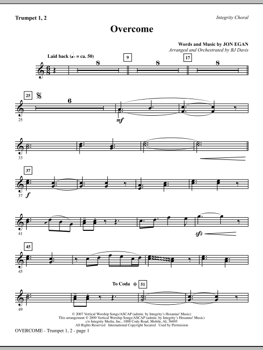 BJ Davis Overcome - Trumpets 1 & 2 sheet music notes and chords. Download Printable PDF.
