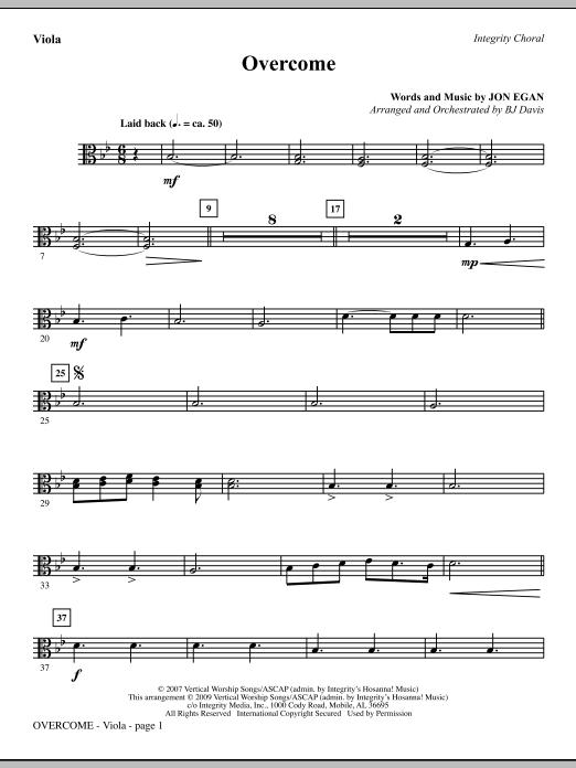 BJ Davis Overcome - Viola sheet music notes and chords. Download Printable PDF.