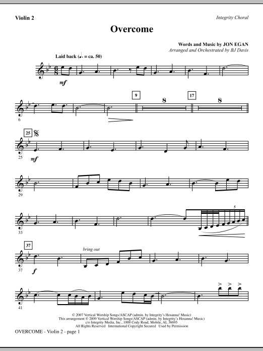 BJ Davis Overcome - Violin 2 sheet music notes and chords. Download Printable PDF.