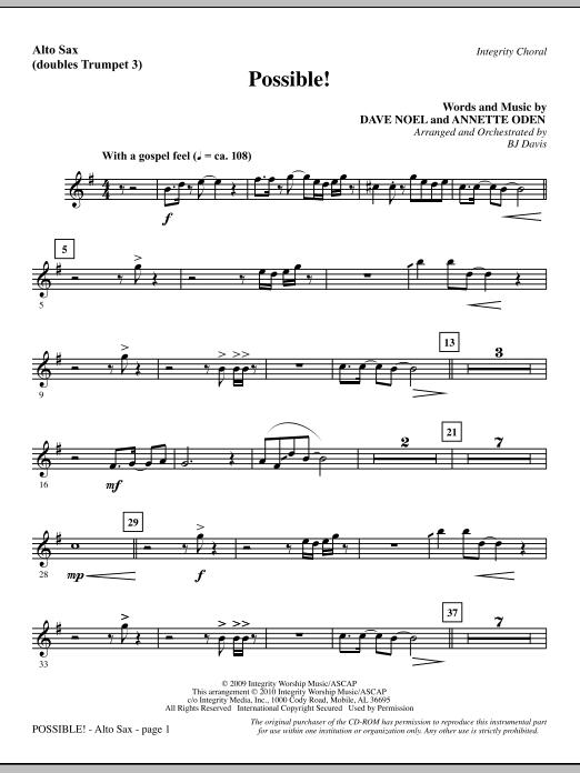 BJ Davis Possible! - Alto Sax (sub. Trumpet 3) sheet music notes and chords. Download Printable PDF.