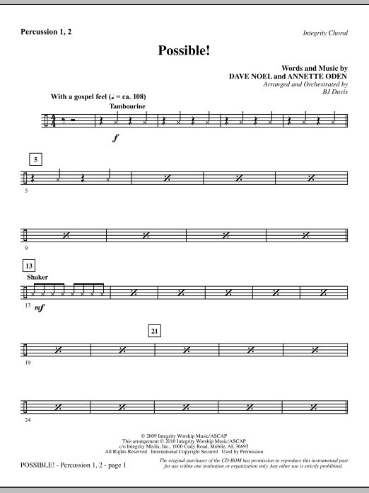 BJ Davis Possible! - Percussion 1 & 2 sheet music notes and chords. Download Printable PDF.