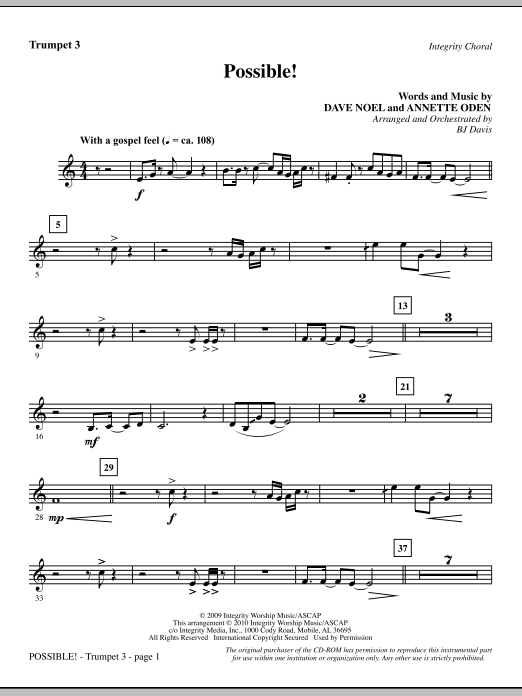BJ Davis Possible! - Trumpet 3 sheet music notes and chords. Download Printable PDF.