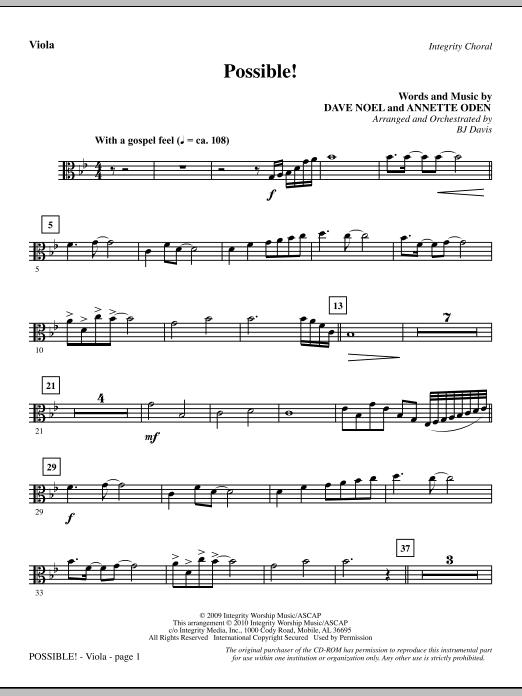 BJ Davis Possible! - Viola sheet music notes and chords. Download Printable PDF.