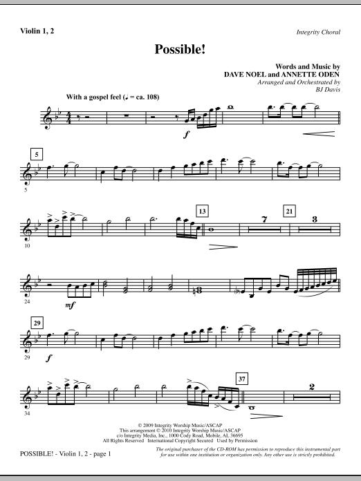 BJ Davis Possible! - Violin 1, 2 sheet music notes and chords. Download Printable PDF.