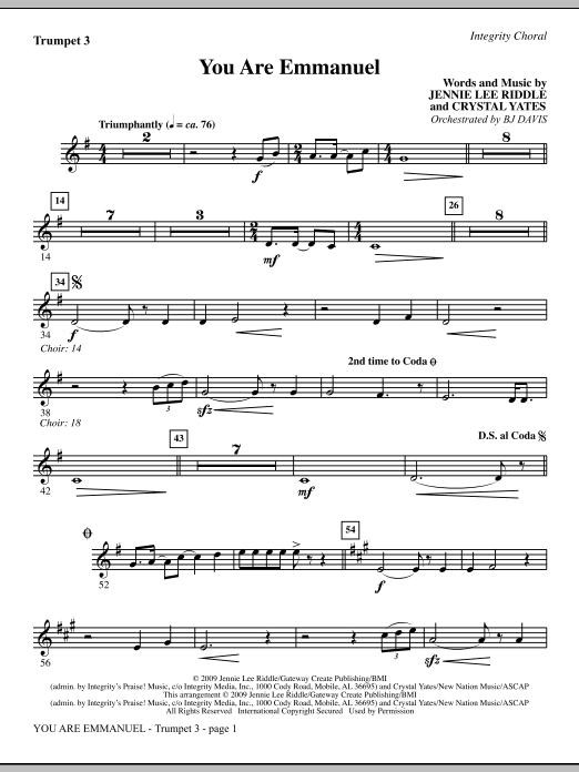 BJ Davis You Are Emmanuel - Bb Trumpet 3 sheet music notes and chords. Download Printable PDF.