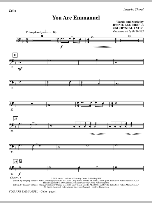 BJ Davis You Are Emmanuel - Double Bass sheet music notes and chords. Download Printable PDF.