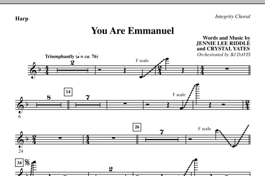 BJ Davis You Are Emmanuel - Harp sheet music notes and chords. Download Printable PDF.