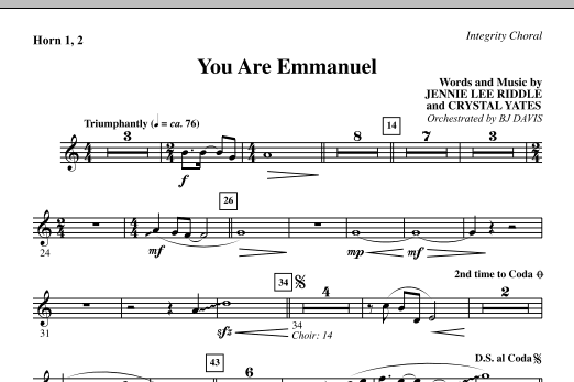 BJ Davis You Are Emmanuel - Horn 1 & 2 sheet music notes and chords. Download Printable PDF.