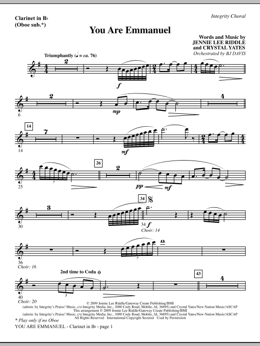 BJ Davis You Are Emmanuel - Tenor Sax (Trombone 2 sub.) sheet music notes and chords. Download Printable PDF.