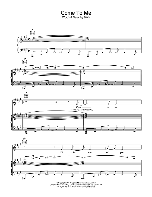 Bjork Come To Me sheet music notes and chords