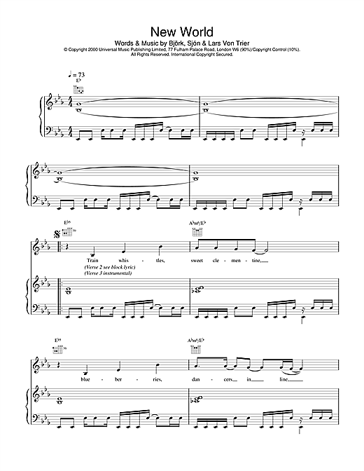 Bjork New World (from Dancer In The Dark) sheet music notes and chords