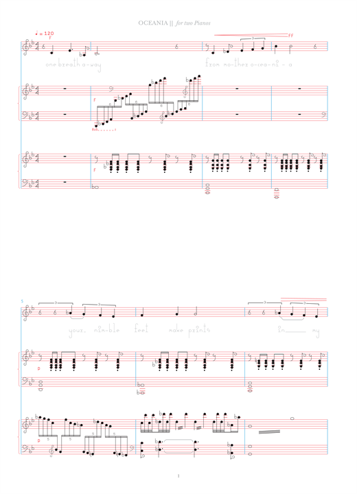 Bjork Oceania (for two pianos) sheet music notes and chords