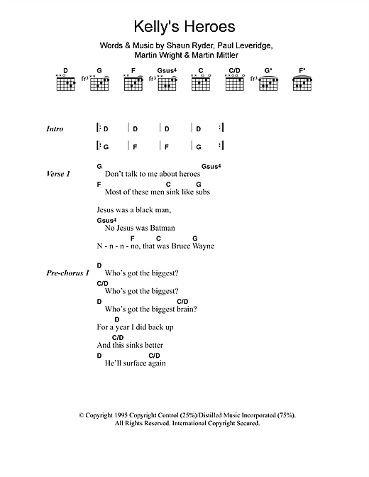 Black Grape Kelly's Heroes sheet music notes and chords. Download Printable PDF.