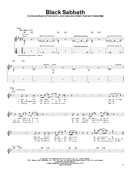Black Sabbath Black Sabbath sheet music notes and chords. Download Printable PDF.