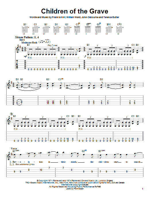 Black Sabbath Children Of The Grave sheet music notes and chords. Download Printable PDF.