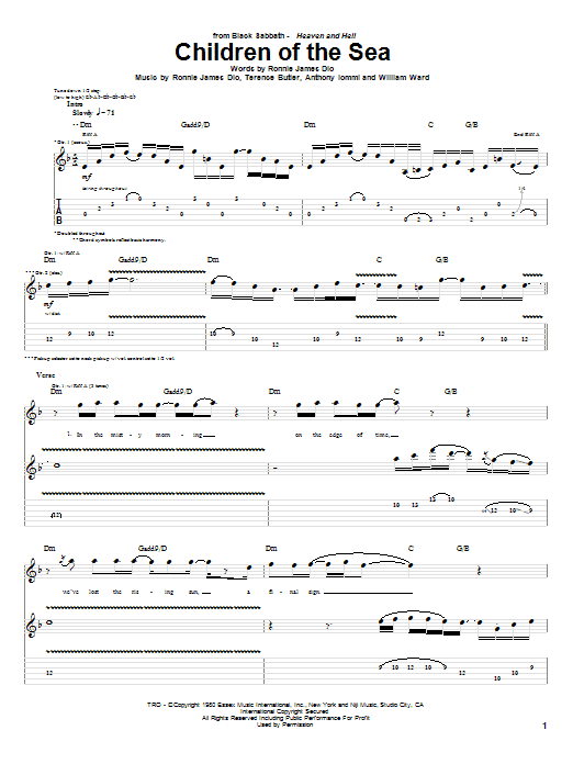Black Sabbath Children Of The Sea sheet music notes and chords